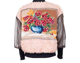 Bomber jacket MONA - curly fake fur with vintage embroidery M/38