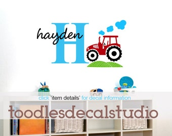 Tractor Wall Art in Vinyl for Boys room, Personalized red tractor for nursery decor
