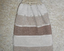 Hanging Kitchen Towel - Crochet Top Towel - Tan and Brown - Stripes - Double and Reversible