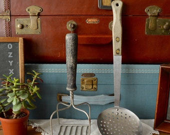 Set of Vintage Wooden Handle Potato Light Masher and Ladle Vintage Kitchenware Decor