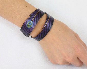 Vegan Leather Wrap Bracelet, Purple Double Wrap Peacock Cuff, Gifts for Her