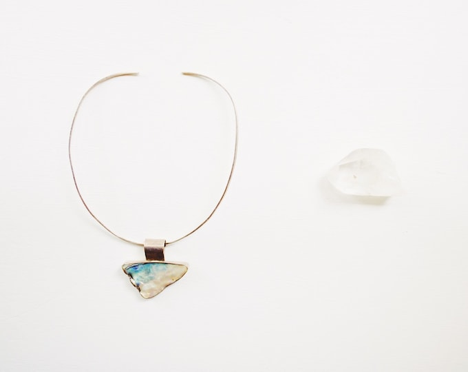 Vintage Handcrafted Sterling Silver 925 Abalone Necklace