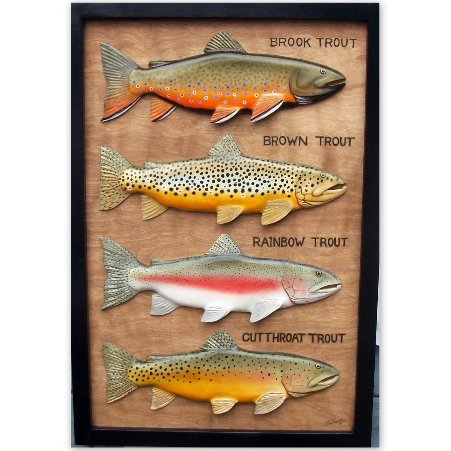 Brown brook rainbow cutthroat trout wood carvings trout for Fly fishing decor