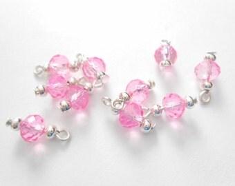 Light Pink  Transparent Faceted Rondelle Dangle Beads