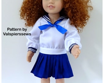 """2040 Valspierssews 20"""" doll clothes Pattern, Vintage Sailor Suit, Modest V, Pleated Skirt, Tailored to fit, PDF Download"""