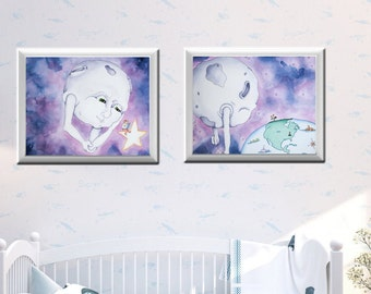 Moon Set | Nursery | Art Print | Nursery Art | Nursery Decor | Purple | Blue | Man in the Moon | Moon Theme | Night Sky | Bedtime Art