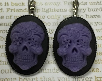 Sugar Skull Earrings - Sugar Skull Earrings - Purple on Black Sugar Skulls Day of the Dead Jewelry Skulls Dia de los Muertos All Saints Day