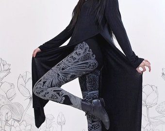 Filigree Art Nouveau Leggings by Carousel Ink - Black Tights - Printed Womens Legging - MEDIUM plus size legging