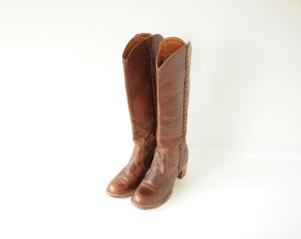 Vintage Fry Brown Leather Campus Boots, Made in USA, Womens 7 / ITEM152