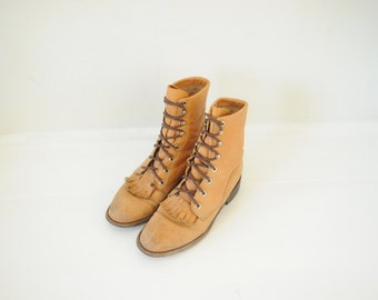 Vintage Justin Brown Leather Roper Boots womens 6 - 6 1/2 / ITEM168