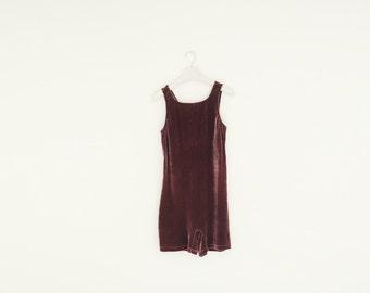 Vintage Stretch Burdungy Velvet Romper, Size Tall Small/Medium