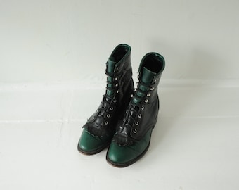 Vintage Two Tone Black & Green Leather Roper Boots, Made in USA, Womens 6