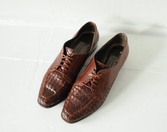 Vintage Bandolino Brown Woven Leather Oxford Shoes, Womens 9 / ITEM042