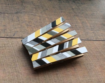 Magnet Clothespins. Kitchen Magnets. Black, Yellow and Grey Stripes. Clothespin Magnets.