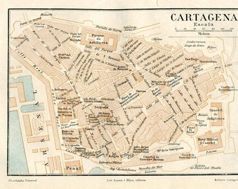 Cartagena Vintage City Map Street Plan 1920s Spain