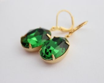 Swarovski Moss Green earrings, dark green earrings, moss earrings, Swarovski earrings, bridesmaid earrings, deep green  oval earrings SMG01