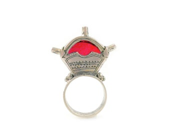 Tuareg African  Ring Silver Metal inset with Red Glass Stone-US Size 10, Mali