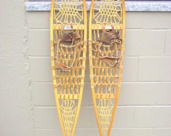 "Antique Wood Snowshoes Rustic Lodge Decor Snocraft 56"" x 10"" - Leather Boot Bindings - Alaskan Style - Michigan Maine Beavertail Algonquin"