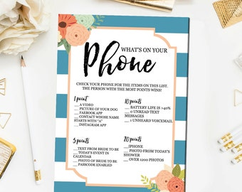 Floral Bridal Shower Games, What's on Your Phone Game, Phone Bridal Shower Games Blue Floral Printable Instant Download BR34