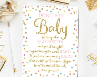 Don't Say Baby Baby Shower Game, Printable Baby Shower Game, Baby Shower Sign, Gender Neutral Baby Shower Printable, Baby Shower Game