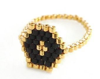Hexagon Ring, Stacking Ring, Skinny Ring, Beaded Ring, Black and Gold Ring, Modern, Urban, Luxe