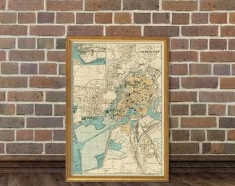 Rochelle map - Plan de la Rochelle - Old map print