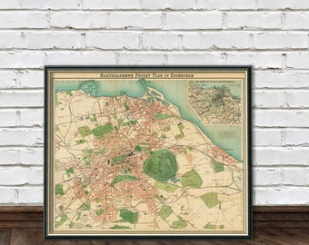 Map of Edinburgh - Vintage map art print - Giclee reproduction - Edinburgh map