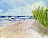 Nauset Memory Orleans MA 5x5 Watercolor on Cradled Board