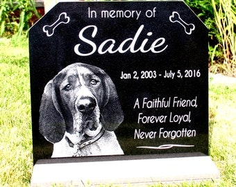 Dog Memorial Stone Pet Grave Marker Cat Dog Memorial Plaque PLUS  *Base Stand* Granite Headstone Customized with YOUR Pets Photo.