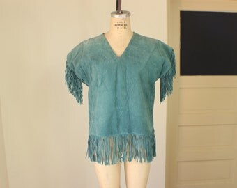 Turquoise FRINGED Top / Suede Tunic with Fringe / Women's Vintage Apparal Medium