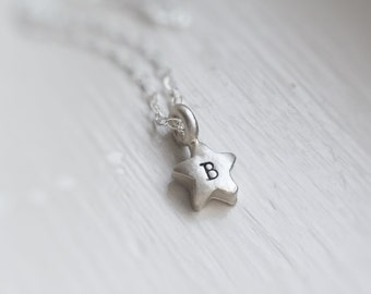 Tiny Silver Star Letter Initial Necklace Personalized Little Star Choose Number Sterling Silver Gift for Her Dainty Everyday Necklace