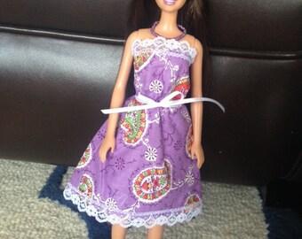 Handmade Barbie Sundress - Purple and White