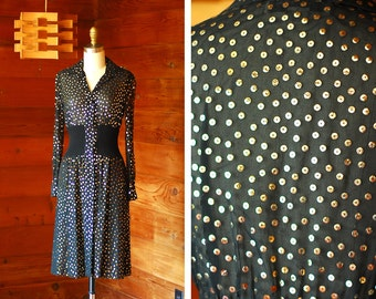 vintage 1970s Pat Sandler black and gold sequin dress / size xs small