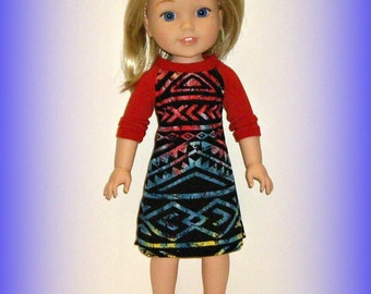 "Handmade Doll Clothes fit 14.5"" Dolls Such as American Girl Wellie Wishers, Baseball Tee Nightshirt, PJ Top in Soft Cotton Knit, Aztec Print"