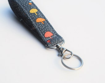 Handmade Key chain, Fabric Key Fob With Snap, Mushrooms, Grey