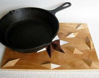 Wood Trivet.  Dimensional hardwood hot pad.  Geometric, woodwork kitchen decor