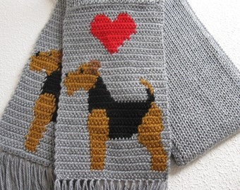 Airedale Terrier Scarf. Gray knit scarf with Welsh terriers and red hearts. Knitted Lakeland dog