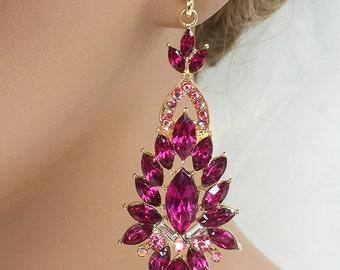 Bridal jewelry, Bridal earrings, Wedding jewelry, wedding earrings, Ruby crystal earrings, Victorian earrings, evening Fuchsia earrings