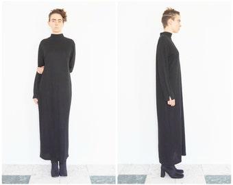 90s Minimal Black Turtleneck Maxi Dress
