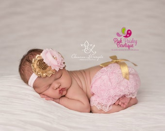 Baby Bloomers - Pink & Gold Cake Smash Outfit - Newborn Photo Outfit - Cake smash outfit-Newborn Ruffle Diaper cover Pink and Gold Baby Set