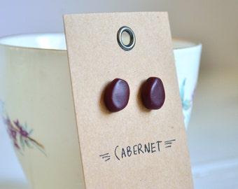SALE Small fall stud earrings, marsala post earrings, maroon geometric studs, wilma flintstone, burgundy post earrings, rustic, autumn