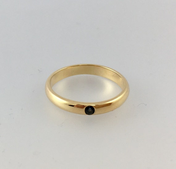 14k Yellow Gold Blue Sapphire Wedding Band - Engagement Ring
