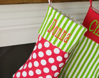 Monogrammed polka dot Christmas stocking, Personalized Christmas stockings,