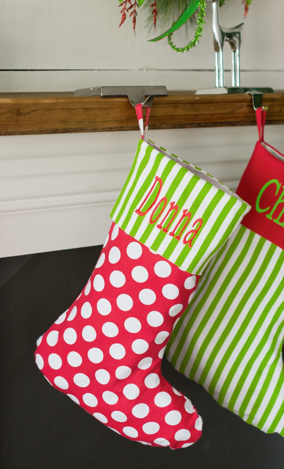 Monogrammed polka dot Christmas stocking Personalized