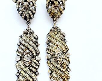 Stunning Long Dangle Rhinestone Earrings Full Glamour Vintage Swag Fashion Jewelry