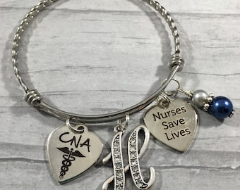Nurse Bracelet, Initial Jewelry, Nurses Save Lives, CnA, RN, Pinning Ceremony, Medical Graduation Gift, Thank You Gift, LpN, Np, Silver Bead