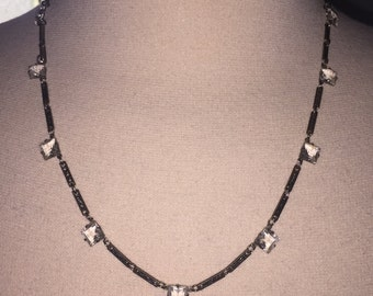 Vintage Art Deco Open Back Crystal Square Gems Silver Embossed Bar Chain Necklace