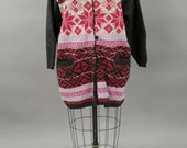 Vintage Hilda Wool Fair Isle Knit Sweater Long Cardigan Coat Small-Medium
