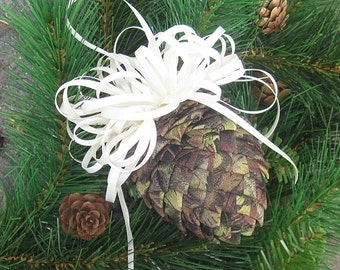 Fabric Pinecone Ornament - Camo Fabric with Cream Satin Bow - Christmas Ornament