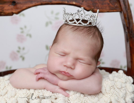 Rhinestone Baby Crown for newborn or maternity photo shoots, cake topper, photographer, bebe, infant, by Lil Miss Sweet Pea